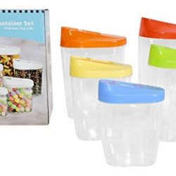 Kitchen-Storage-Containers-Easy-Pour-Lids-Set-of-5-Cereal-Snacks-Nuts-Peas-Pasta-Holder-0-1