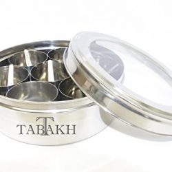 Tabakh-Stainless-Steel-Masala-DabbaSpice-Container-Box-with-7-Spoons-Clear-Lid-0-2